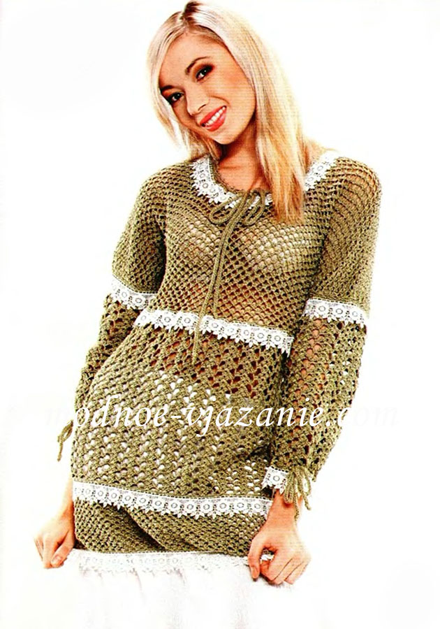 Длинная вязаная юбка крючком. Модель 135