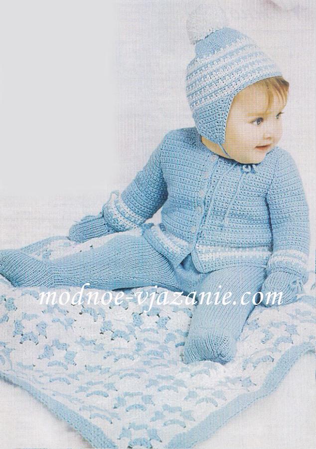 Детское одеяло спицами