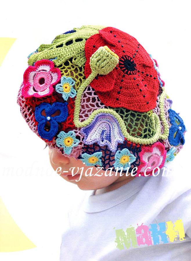 Вязание крючком шапочки для девочек