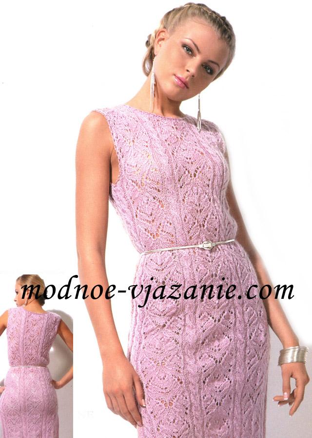 Вязание спицами. Ажурное платье