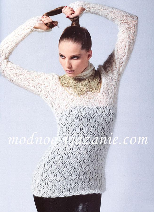 Женский свитер с ажурным узором
